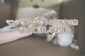 マンションでペットと同居する際、行ってほしい対策